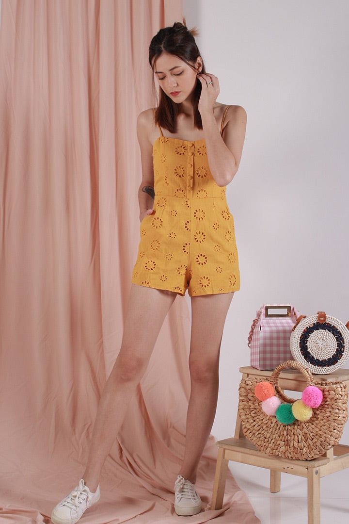 MOONCHILD BOW PLAYSUIT (MUSTARD)