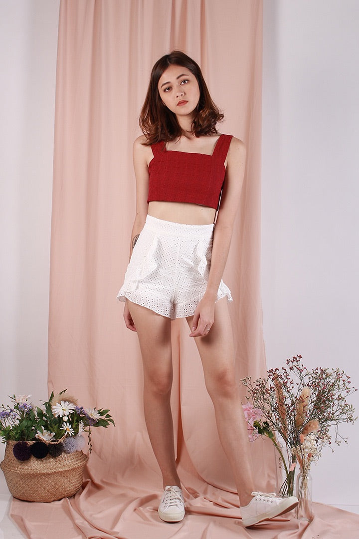 PLAY IT COOL EYELET CROP (WINE)