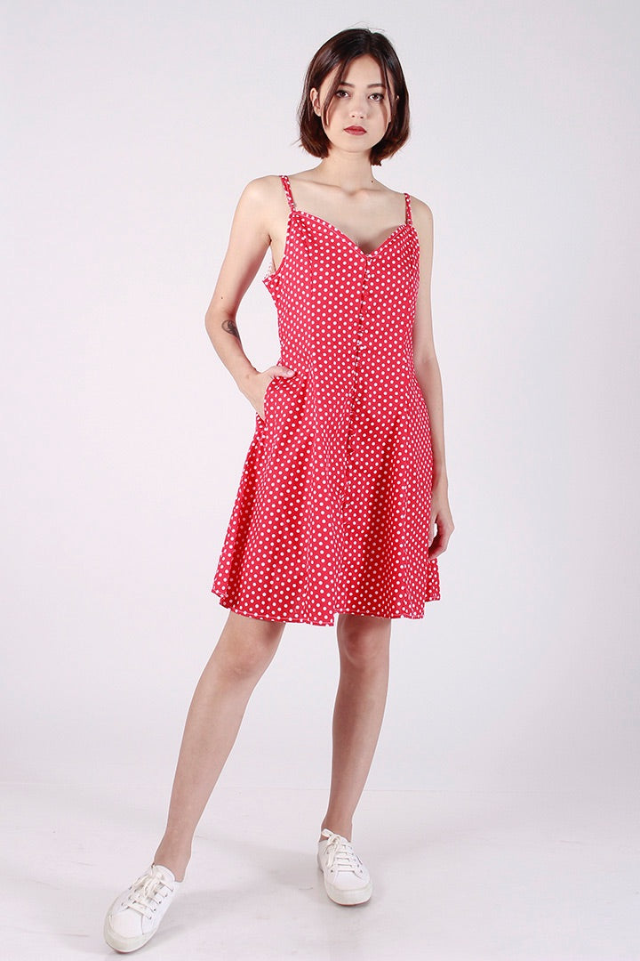 POLKA DOT BUTTON CAMI DRESS