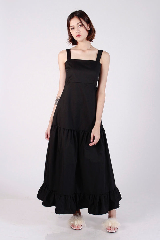 DANCING RUFFLES MAXI DRESS (BLACK)