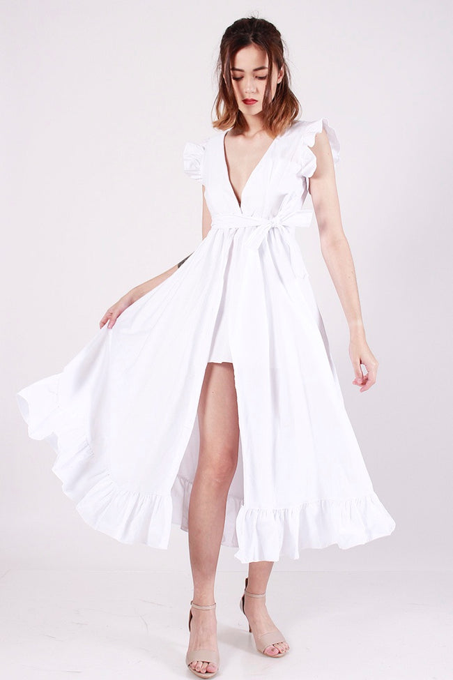 fbc396833fd PRINCESS POLLY RUFFLE DRESS (WHITE)