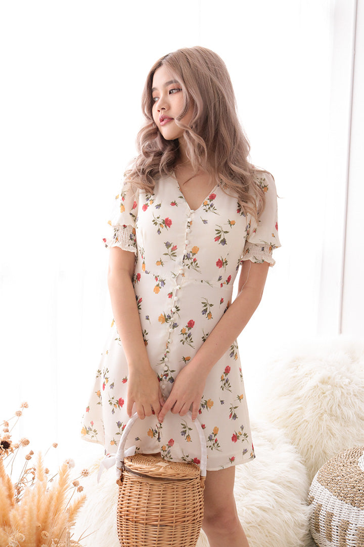 MARIE FLORAL MINI DRESS (WHITE)