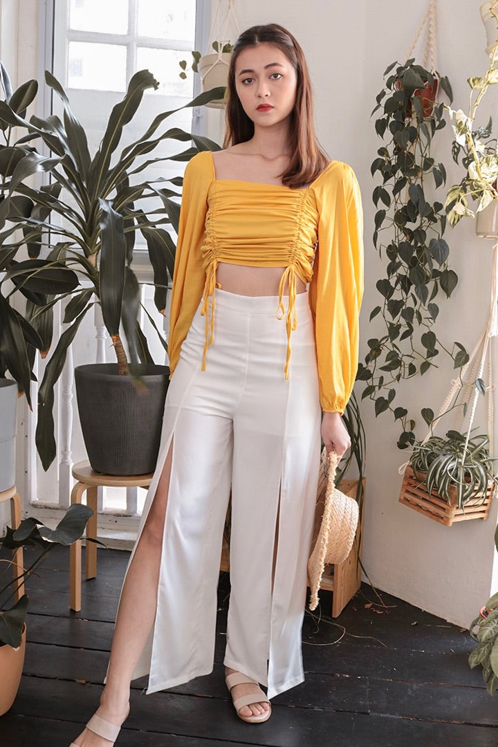 BASIC RUCHED TIE TOP (MUSTARD)