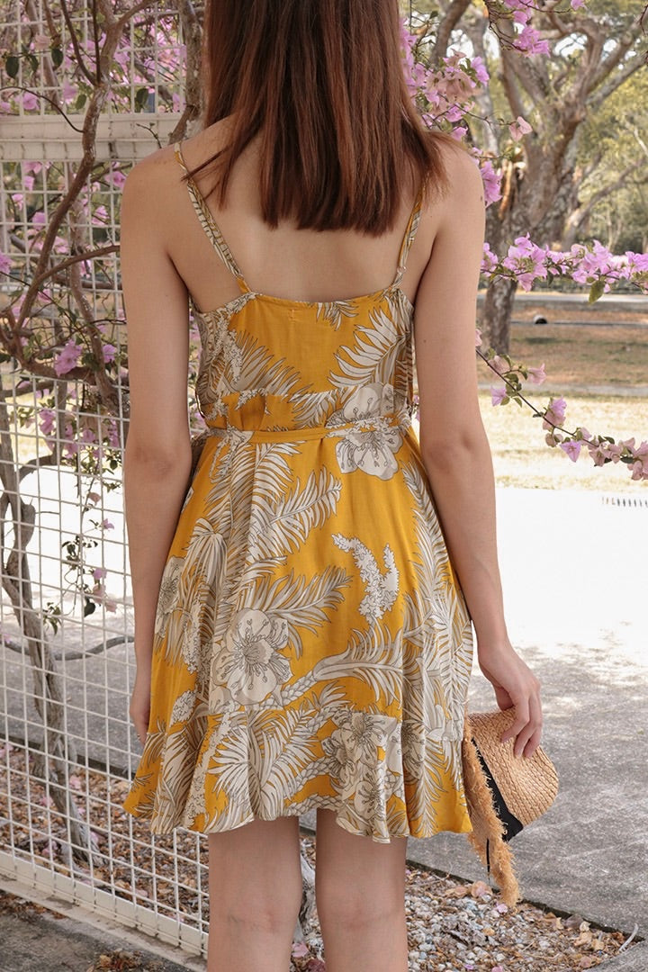 ABSOLUTE PRINTED WRAP CAMI DRESS (SUN)