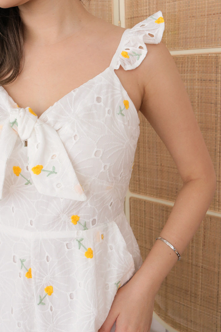 ASOKA EMBROIDERED BOW PLAYSUIT (YELLOW)