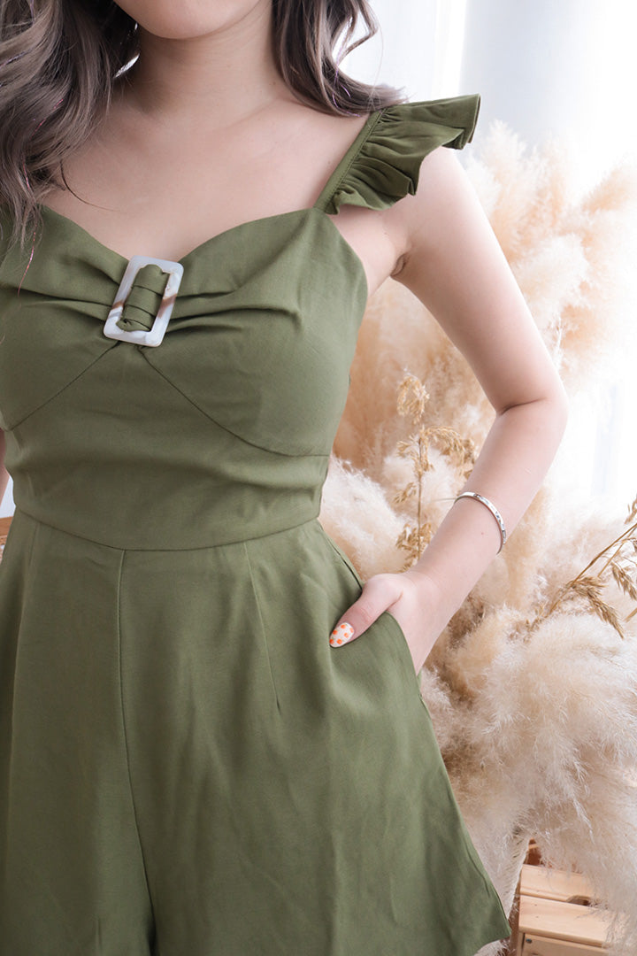 BOLD BUCKLE RUFFLE PLAYSUIT (OLIVE)