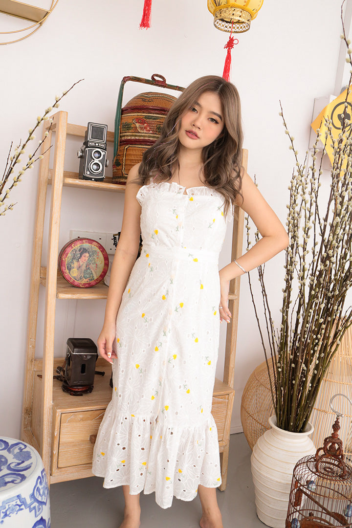 MYSTIC EMBROIDERED MAXI DRESS (YELLOW)