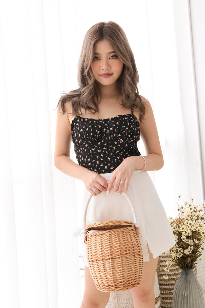 MINI FLORAL CAMI CROP (BLACK)