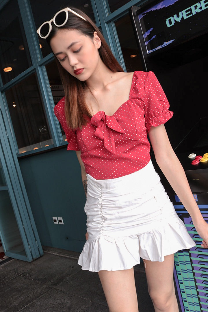 SANTA BOW DOTTY TOP (RED)