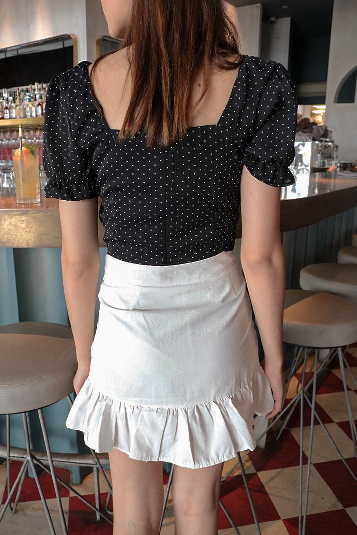 SANTA BOW DOTTY TOP (BLACK)