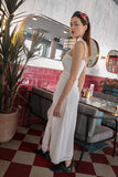 CASTELLA RUFFLES SPLIT MAXI DRESS (WHITE)