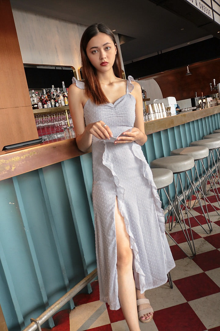 CASTELLA RUFFLES SPLIT MAXI DRESS (LILAC)