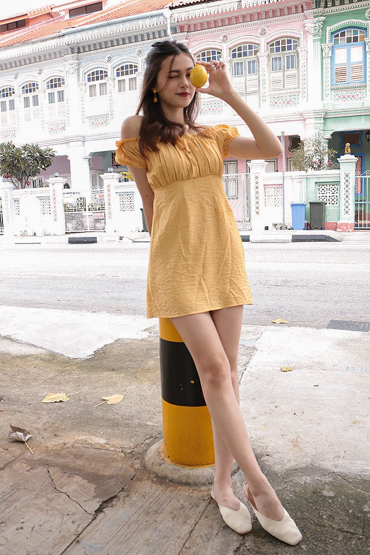 GOOD VIBES EYELET OFF-S DRESS (HONEY)*LAST FEW*