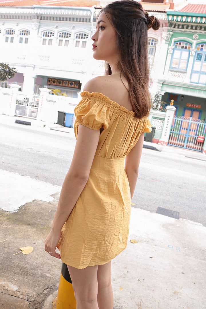 GOOD VIBES EYELET OFF-S DRESS (HONEY)