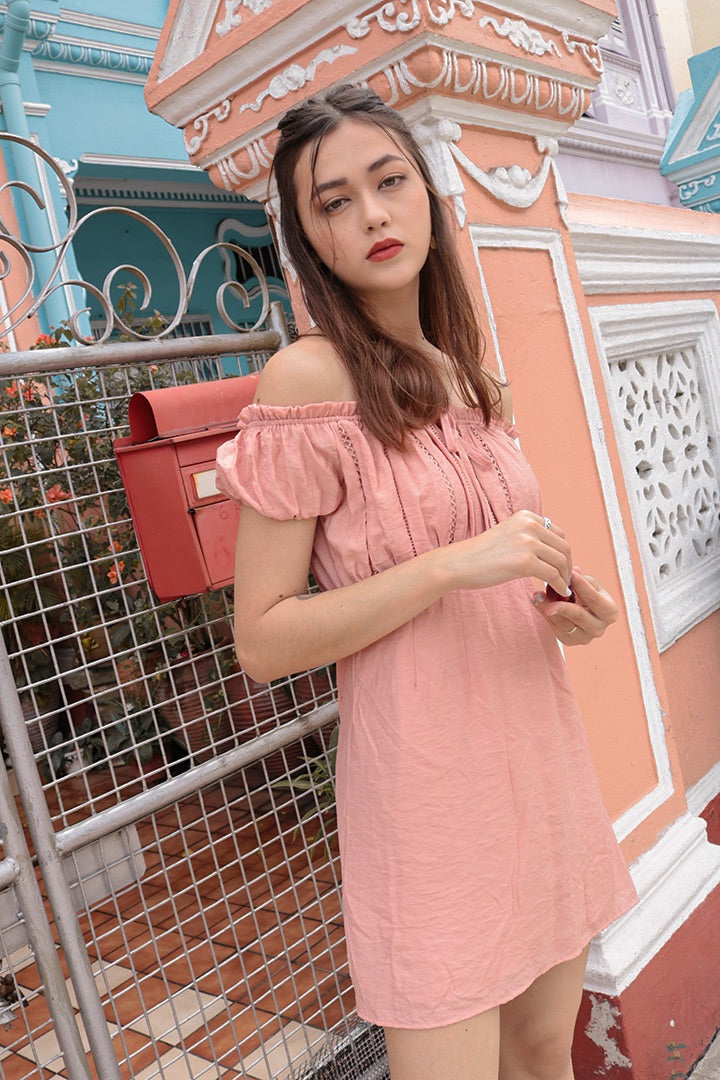 GOOD VIBES EYELET OFF-S DRESS (BLUSH)