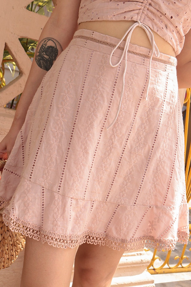 KIA EYELET SWING SKIRT (BLUSH)