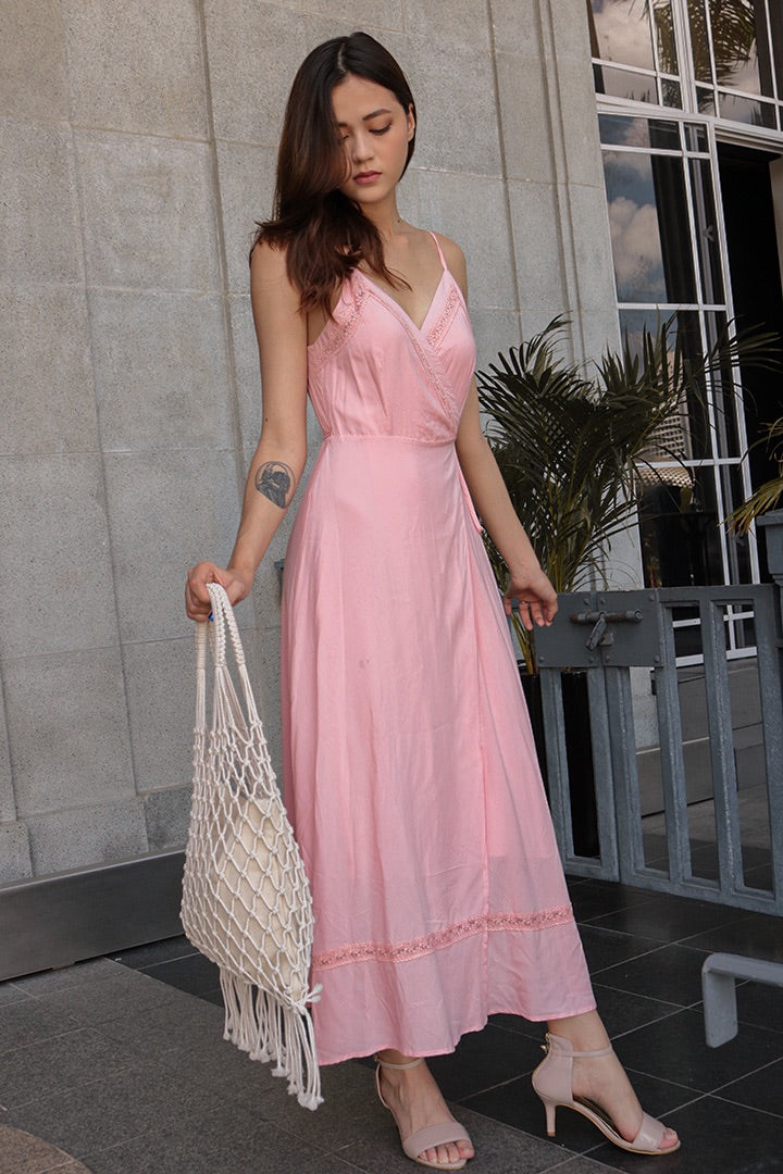 GHIA LACE WRAP AROUND MAXI (FLAMINGO PINK)