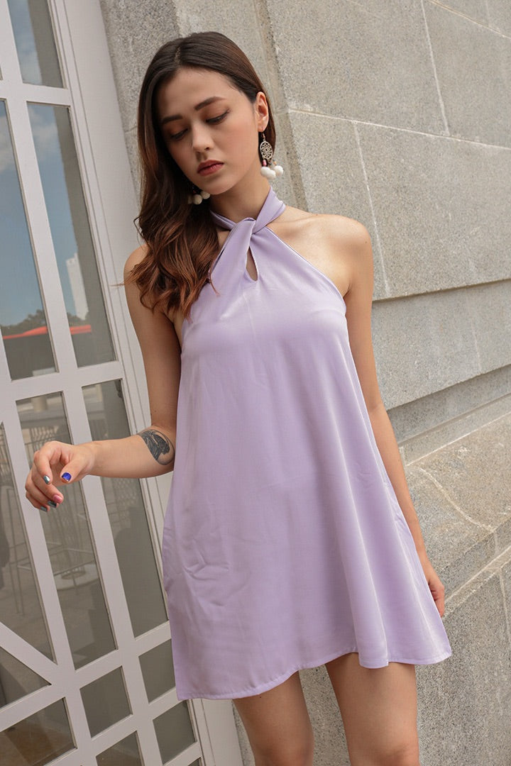 BUBBLEGUM HALTER BASIC DRESS (LILAC)