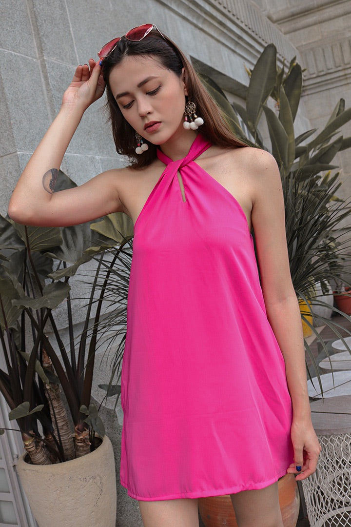 BUBBLEGUM HALTER BASIC DRESS (BARBIE PK)