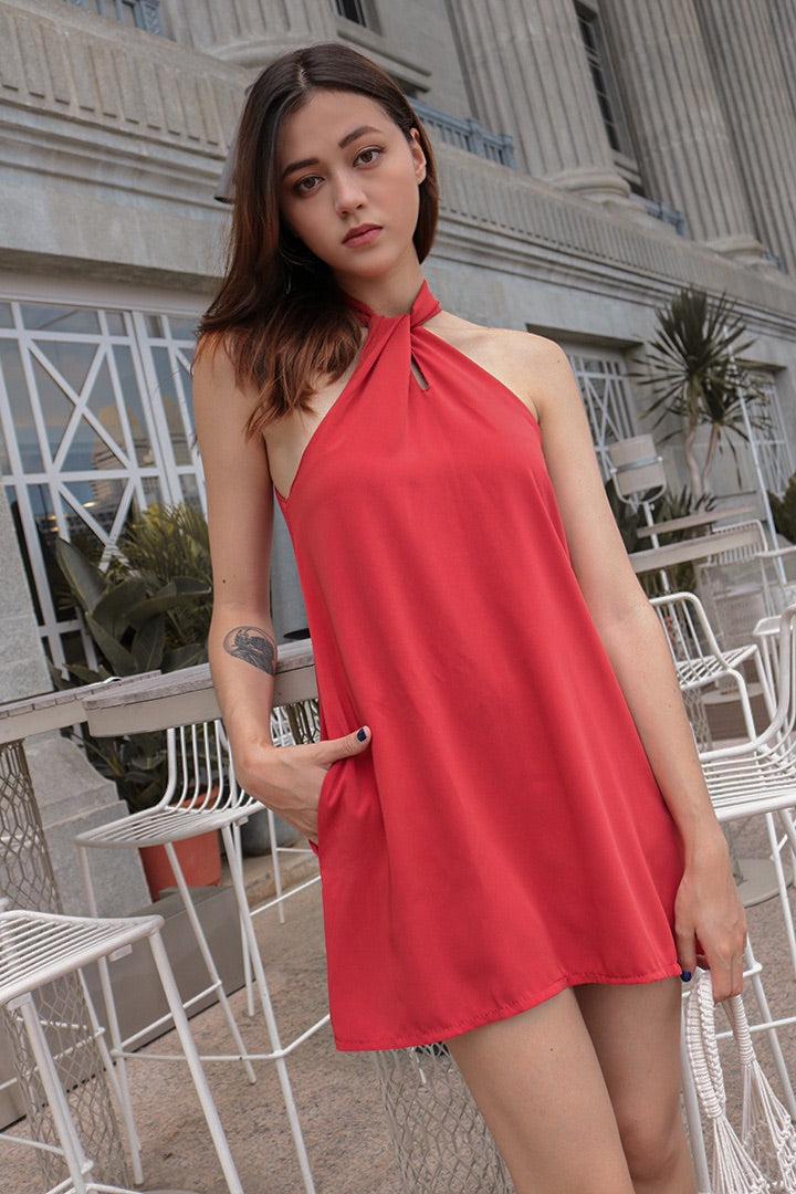 BUBBLEGUM HALTER BASIC DRESS (BURNT OR)