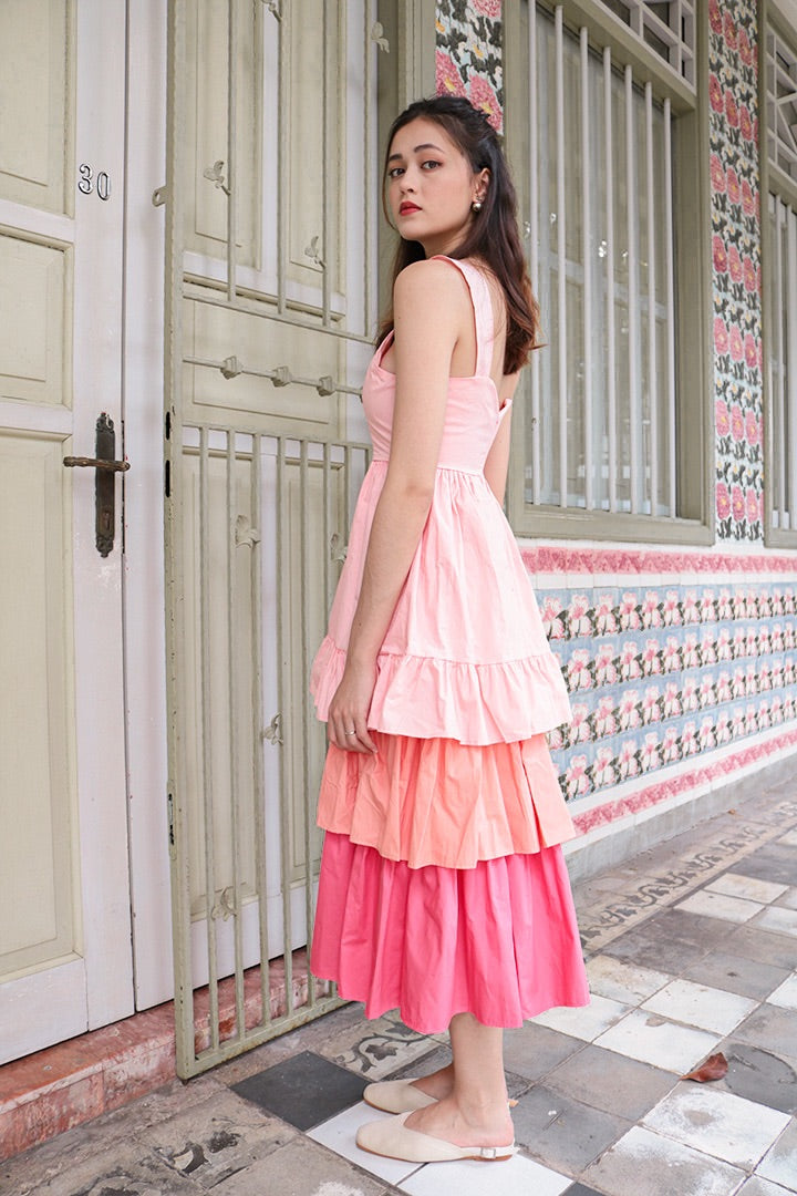 SUNSET POPPIN MAXI DRESS (BLUSH)