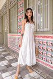 SCARLET BUTTON SLIT MAXI DRESS (WHITE)