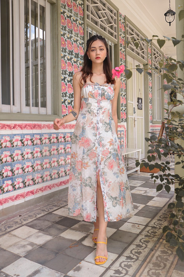 SCARLET BUTTON SLIT MAXI DRESS (FLORAL)