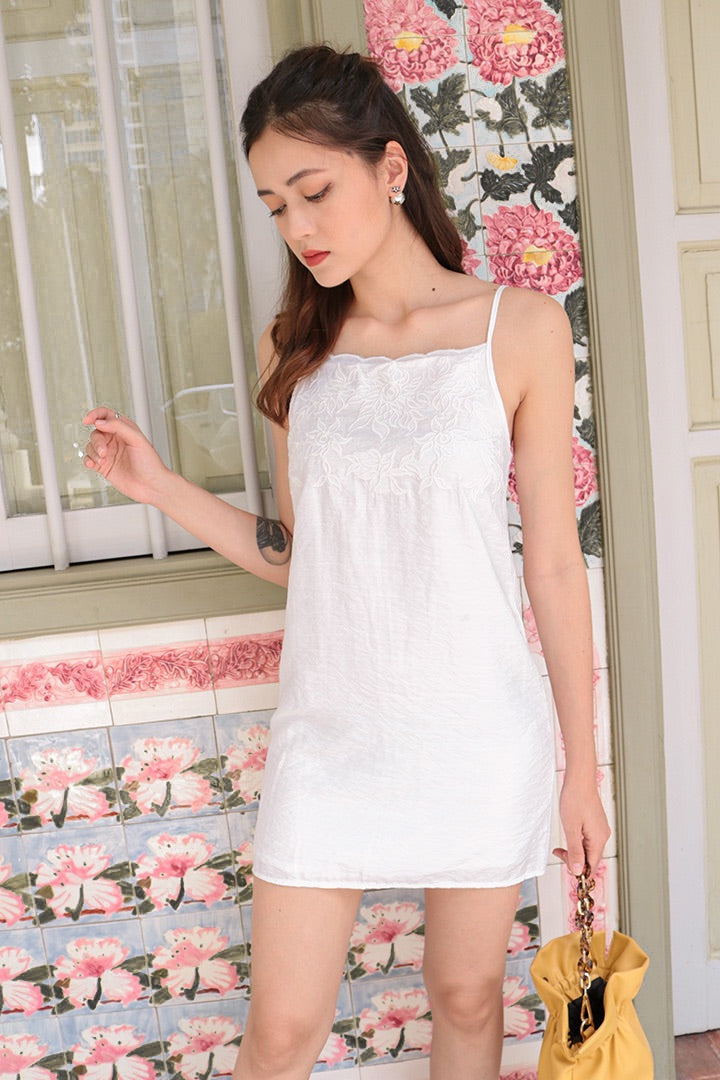 MERCI EMBROIDERED DRESS (WHITE)