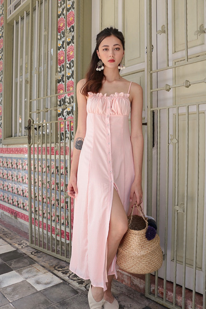 SCARLET BUTTON SLIT MAXI DRESS (BABY PK)