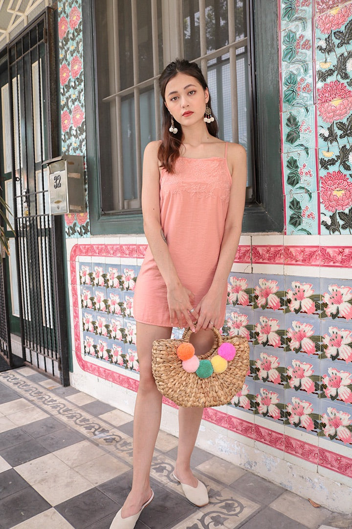 MERCI EMBROIDERED DRESS (BLUSH)
