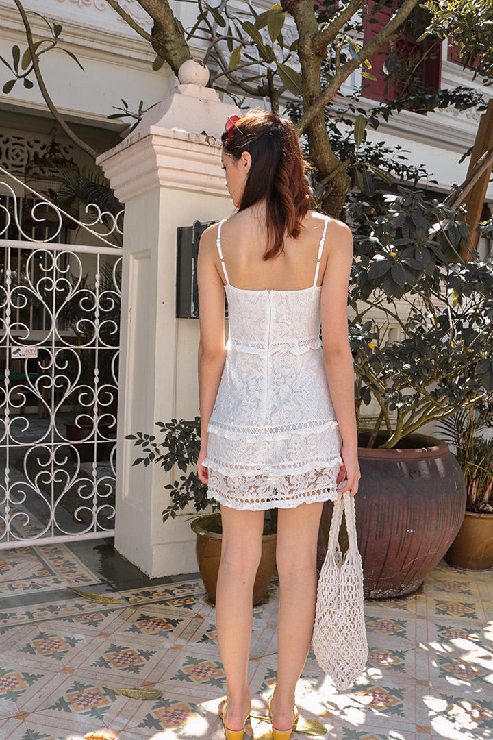 ODYSSEY CROCHET CAMI DRESS (WHITE)