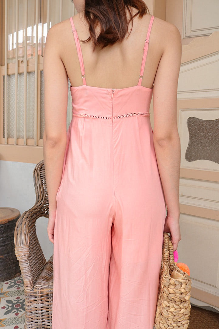 COSMO EYELET JUMPSUIT (FLAMINGO PINK)