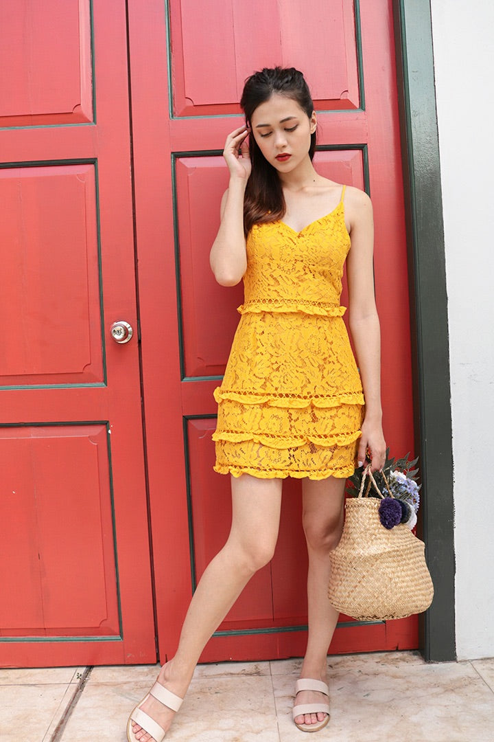 ODYSSEY CROCHET CAMI DRESS (MUSTARD)