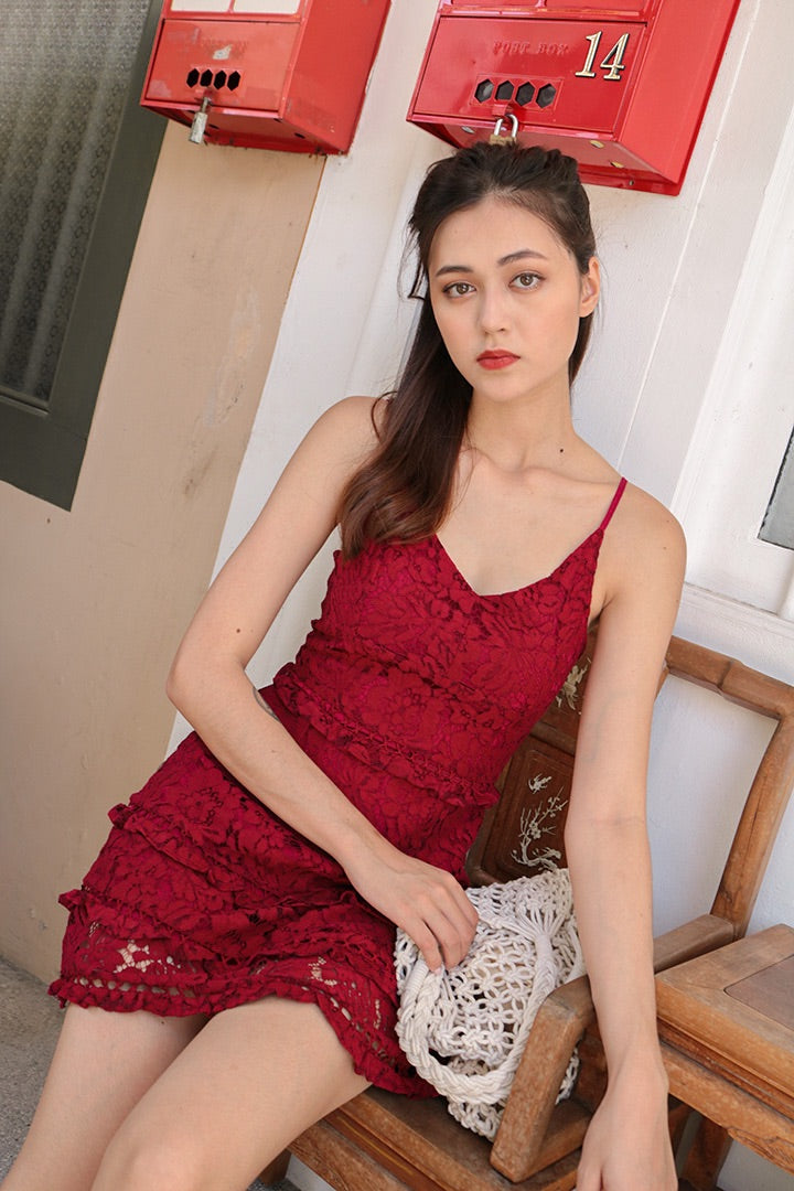 ODYSSEY CROCHET CAMI DRESS (WINE)