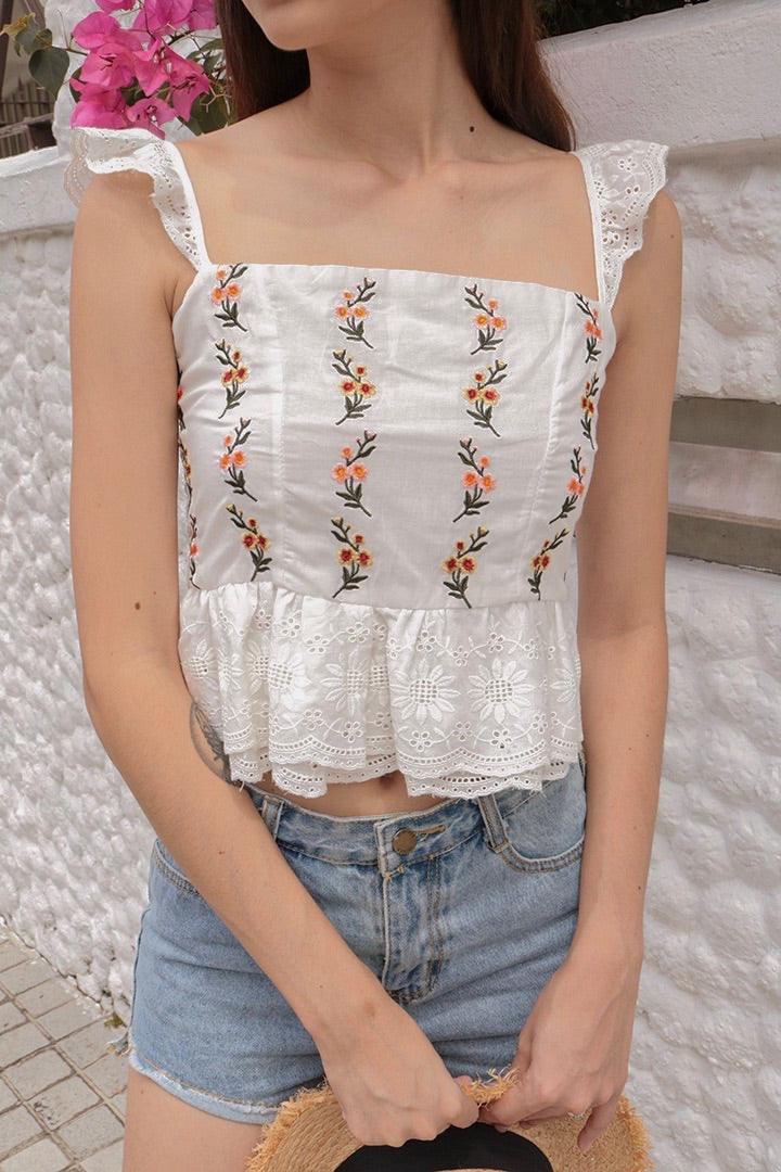 EMBROIDERED LOVE TOP