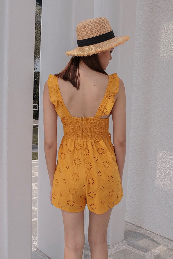 AFTER YOU EYELET PLAYSUIT (MUSTARD)