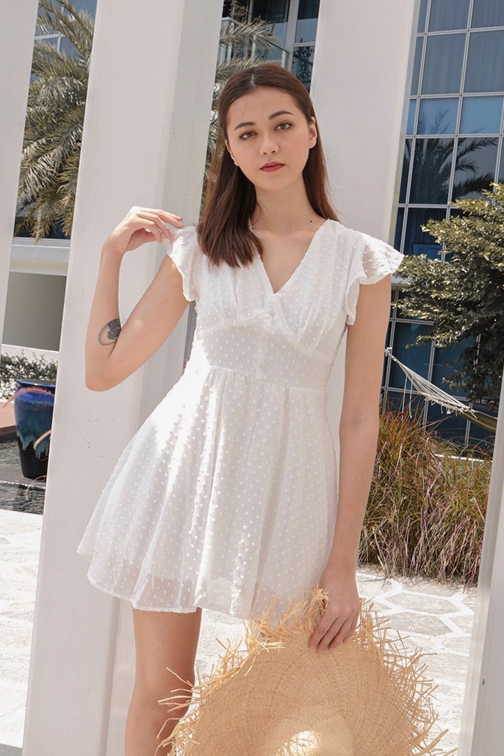 VELLA MESH SLIP ON DRESS (WHITE)