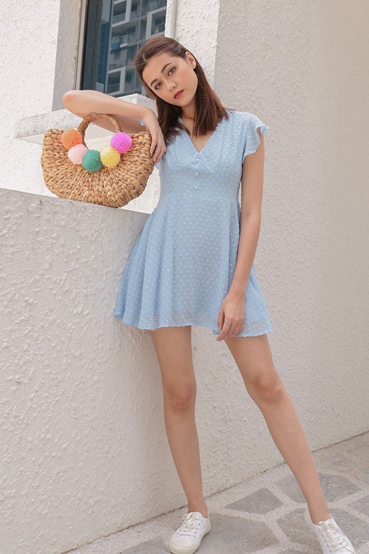 VELLA MESH SLIP ON DRESS (SKY) *LAST PC*