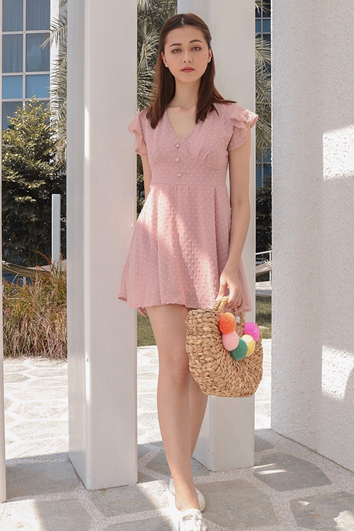 VELLA MESH SLIP ON DRESS (BLUSH)