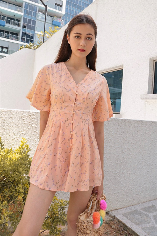 FREEDOM FLORAL PLAYSUIT (PEACH) *LAST PC*