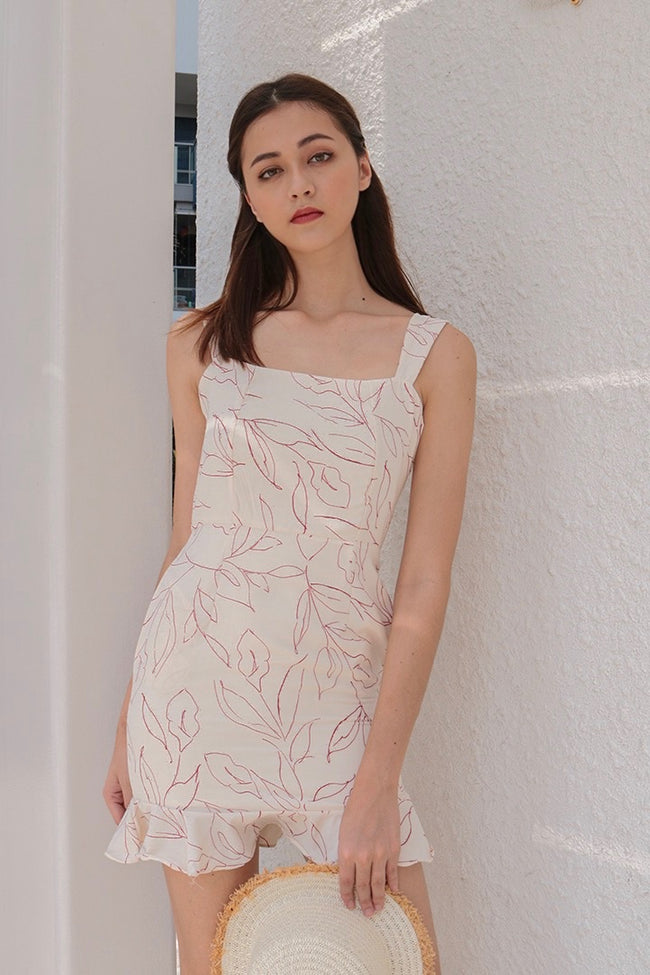 CAMELLIA PRINTED DRESS (CREAM)