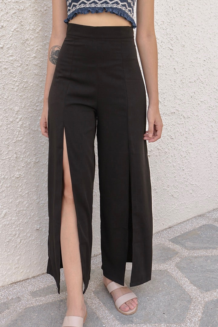 GET COSY SPLIT PANTS (BLACK)