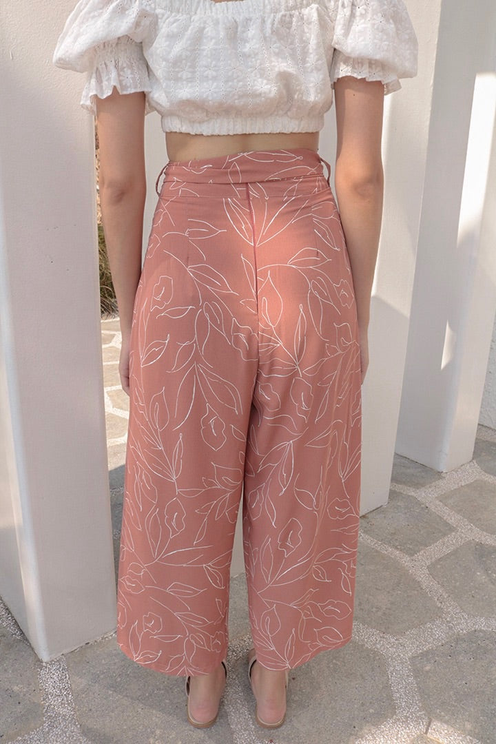CAMELLIA PRINTED SPLIT PANTS (ROSE TAUPE)