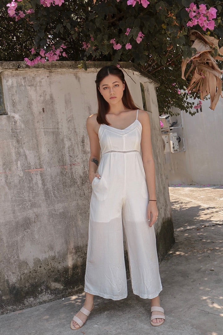 COSMO EYELET JUMPSUIT (WHITE)