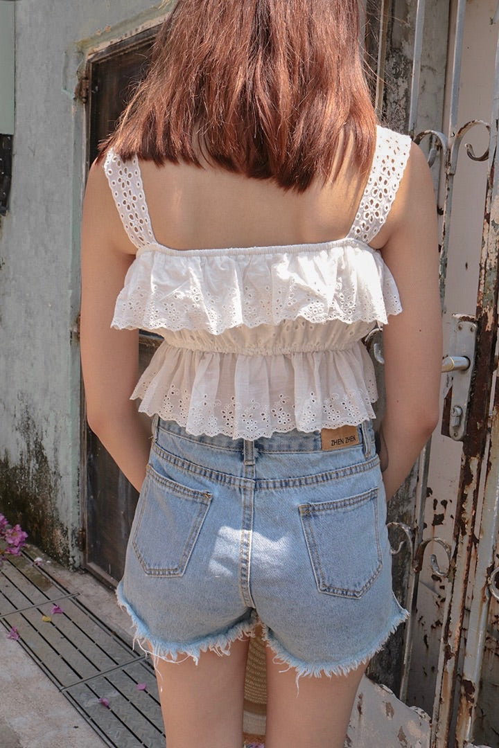 SUGAR LACE EYELET TOP (WHITE)