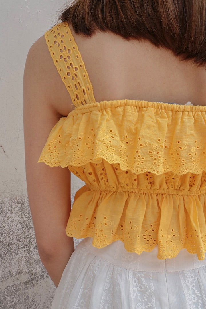 SUGAR LACE EYELET TOP (SUN)