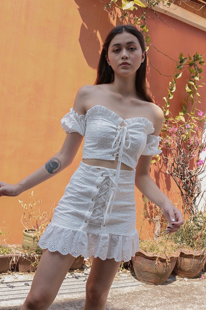 KYRA EYELET LACED SKIRT (WHITE) *LAST PC*