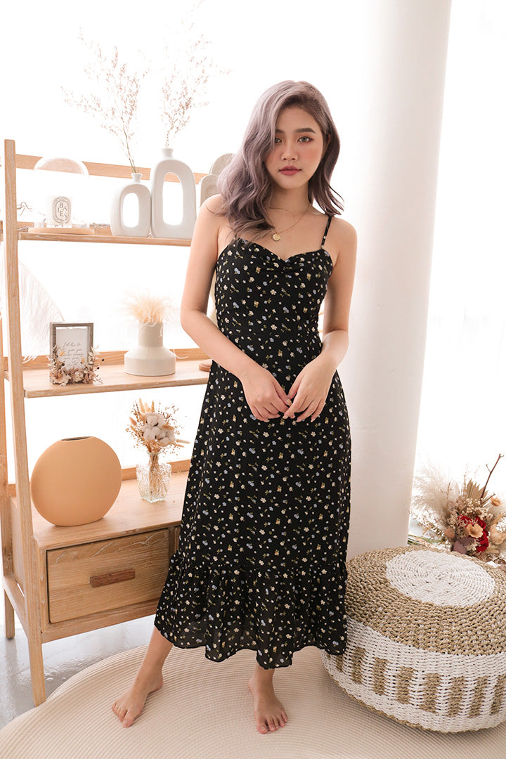 MINI FLORAL CAMI MAXI DRESS (BLACK)