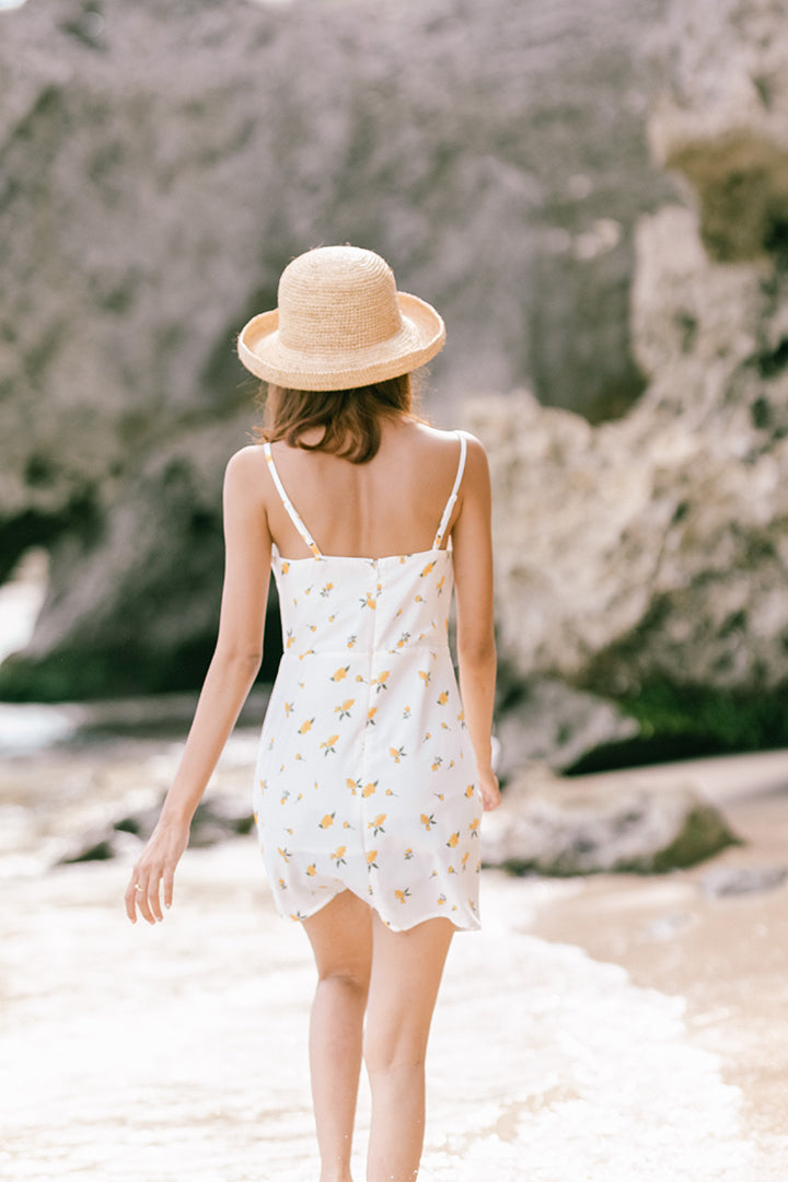YELLOW PETALS CAMI DRESS (WHITE)