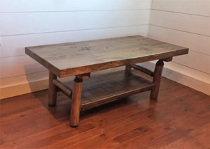 4' x 2' rustic coffee table with rough hewn top